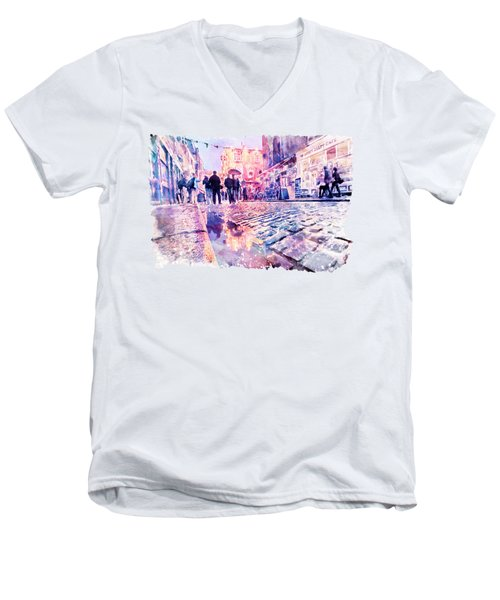 Dublin Watercolor Streetscape Men's V-Neck T-Shirt by Marian Voicu