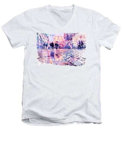Dublin Watercolor Streetscape Men's V-Neck T-Shirt