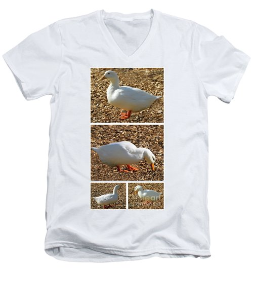Duck Collage Mixed Media A51517 Men's V-Neck T-Shirt