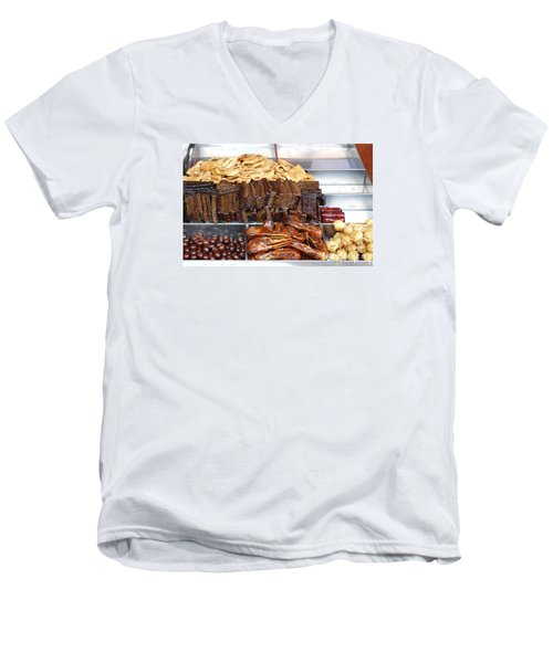 Duck Heads In Soy Sauce And Rice And Blood Cakes Men's V-Neck T-Shirt by Yali Shi