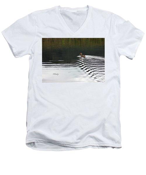 Duck On Ripple Wake Men's V-Neck T-Shirt