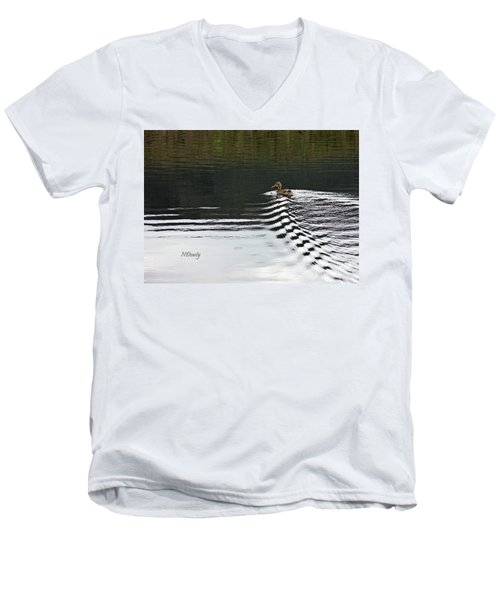 Duck On Ripple Wake Men's V-Neck T-Shirt