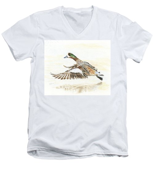 Men's V-Neck T-Shirt featuring the painting Duck Taking Off. by Raffaella Lunelli