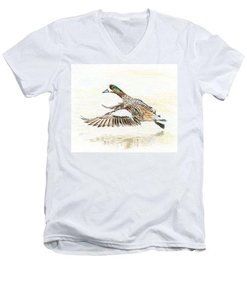 Duck Taking Off. Men's V-Neck T-Shirt