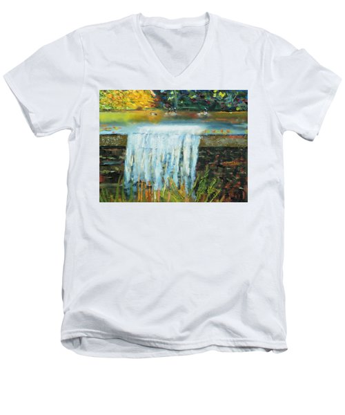 Men's V-Neck T-Shirt featuring the painting Ducks And Waterfall by Michael Daniels