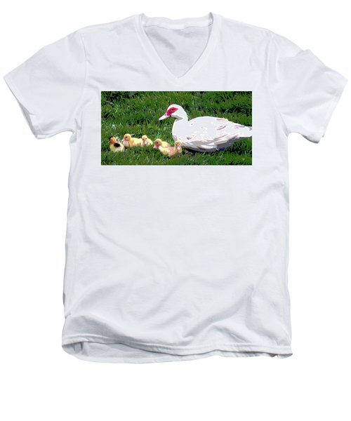 Men's V-Neck T-Shirt featuring the mixed media Ducks by Charles Shoup