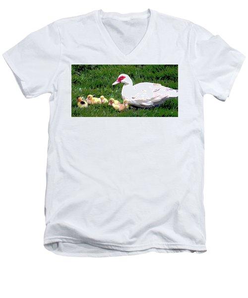 Ducks Men's V-Neck T-Shirt by Charles Shoup