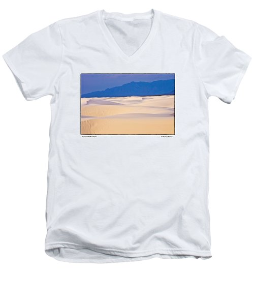 Men's V-Neck T-Shirt featuring the photograph Dunes With Mountains by R Thomas Berner