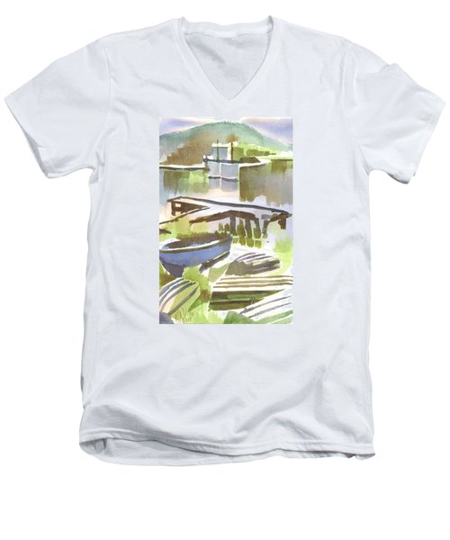 Men's V-Neck T-Shirt featuring the painting Dusk At The Boat Dock by Kip DeVore