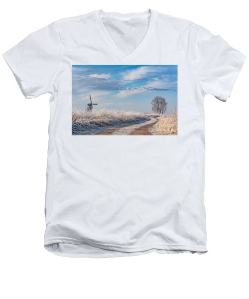 Dutch Windmill In Winter Men's V-Neck T-Shirt