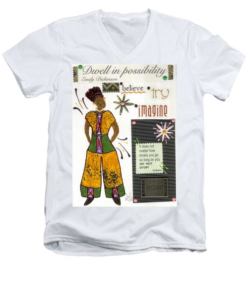 Men's V-Neck T-Shirt featuring the mixed media Dwell In Possibility by Angela L Walker
