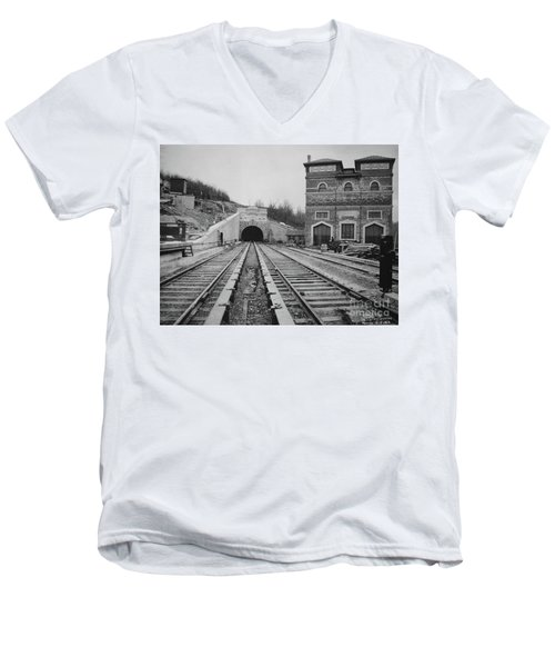 Men's V-Neck T-Shirt featuring the photograph Dyckman Street Station by Cole Thompson