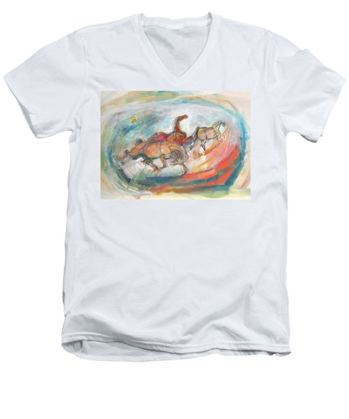 Dynamic Run Men's V-Neck T-Shirt by Mary Armstrong