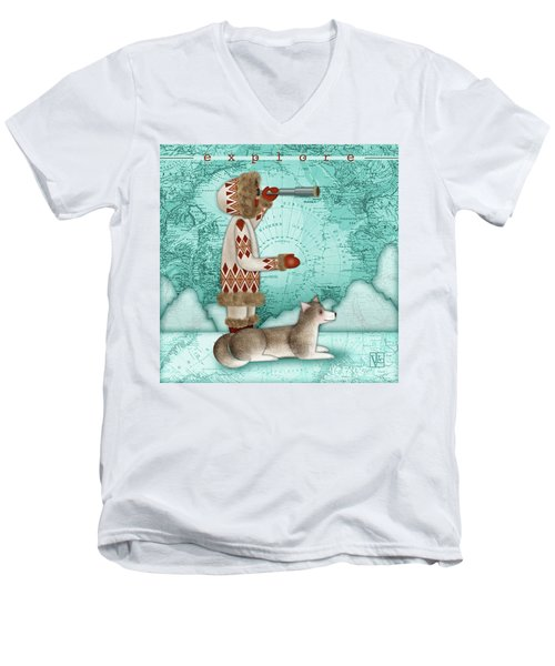 E Is For Eskimo And Explorer Men's V-Neck T-Shirt