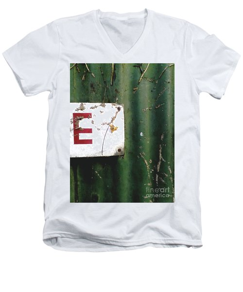 Men's V-Neck T-Shirt featuring the photograph E by Rebecca Harman