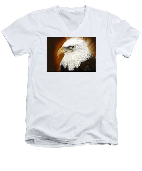 Men's V-Neck T-Shirt featuring the digital art Eagle American by Darren Cannell