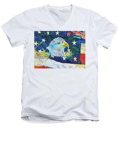 Men's V-Neck T-Shirt featuring the digital art Eagle Americana by David Lee Thompson