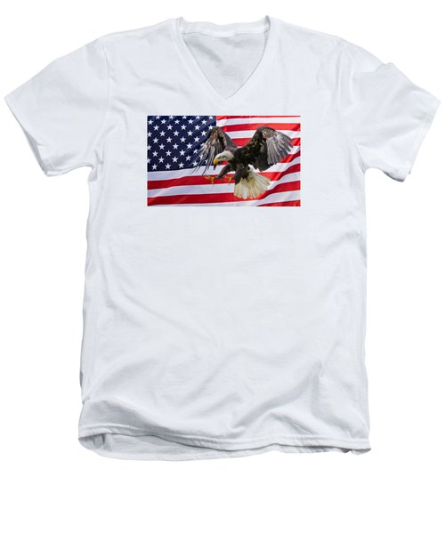 Eagle And Flag Men's V-Neck T-Shirt by Scott Carruthers