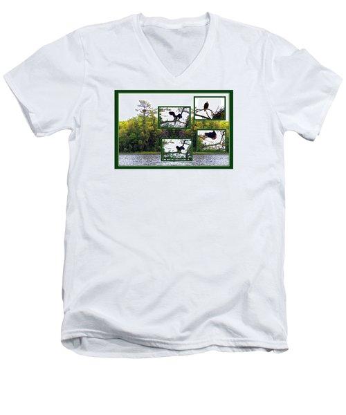 Eagle Collage Men's V-Neck T-Shirt by Teresa Schomig