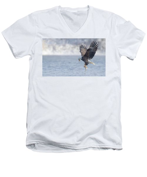 Eagle Fishing  Men's V-Neck T-Shirt by Kelly Marquardt