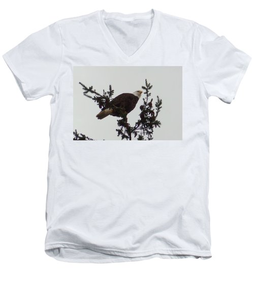 Men's V-Neck T-Shirt featuring the photograph Eagle In A Tree by Karen Molenaar Terrell