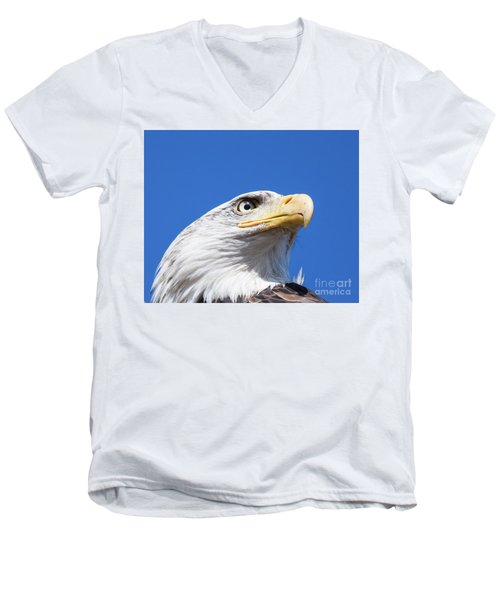 Men's V-Neck T-Shirt featuring the photograph Eagle by Jim  Hatch