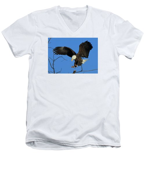 Men's V-Neck T-Shirt featuring the photograph Eagle Landing by Coby Cooper