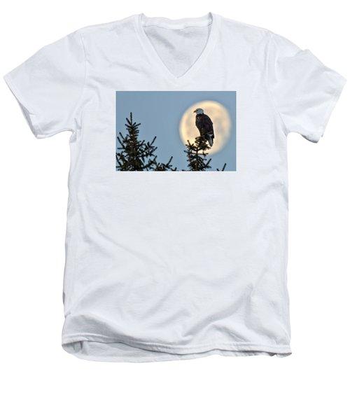 Eagle Moon Men's V-Neck T-Shirt by Fiskr Larsen