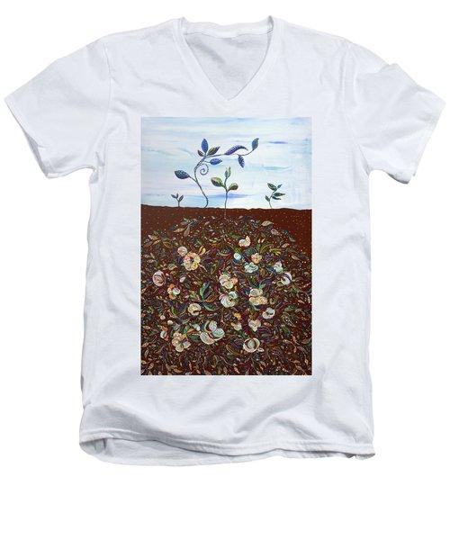 Early Cotton  Men's V-Neck T-Shirt by Erika Pochybova