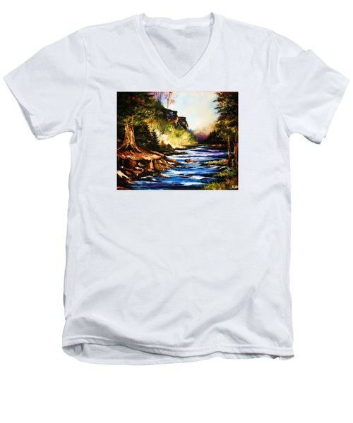 Men's V-Neck T-Shirt featuring the painting Early Dawn Campfire by Al Brown