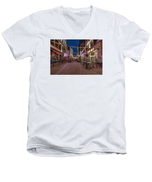Early Evening On E. 4th Men's V-Neck T-Shirt by Brent Durken