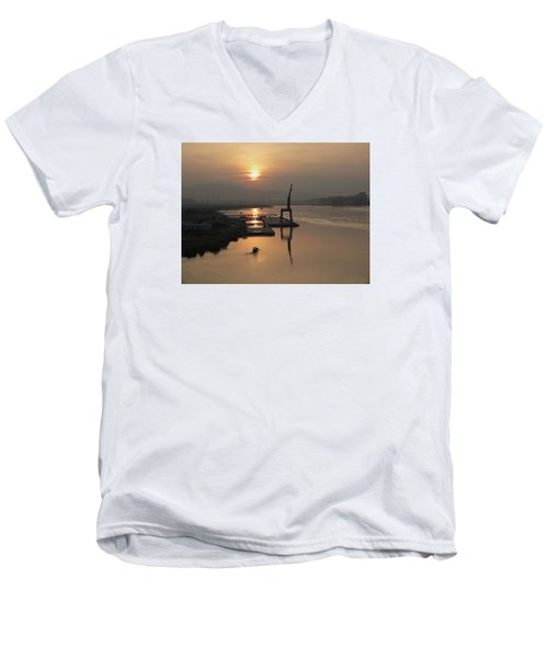 Men's V-Neck T-Shirt featuring the photograph Early Hour On The River by Lucinda Walter
