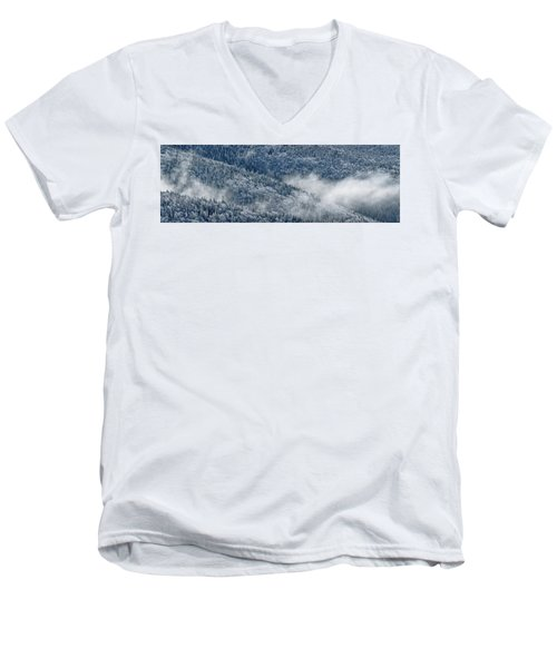 Men's V-Neck T-Shirt featuring the photograph Early Morning After A Snowfall by Sebastien Coursol