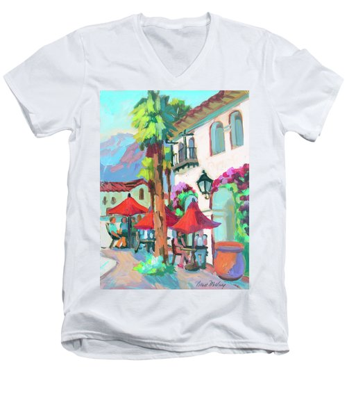 Men's V-Neck T-Shirt featuring the painting Early Morning Coffee In Old Town La Quinta 2 by Diane McClary