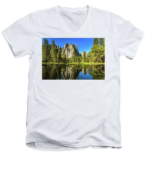 Early Morning View At Cathedral Rocks Vista Men's V-Neck T-Shirt