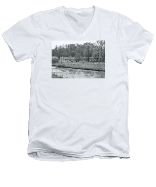 Early Spring In England Black And White Men's V-Neck T-Shirt