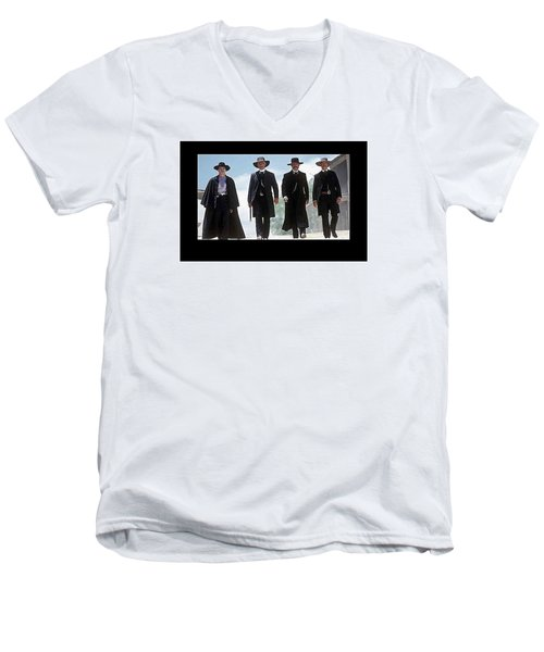 Earp Brothers And Doc Holliday Approaching O.k. Corral Tombstone Movie Mescal Az 1993-2015 Men's V-Neck T-Shirt