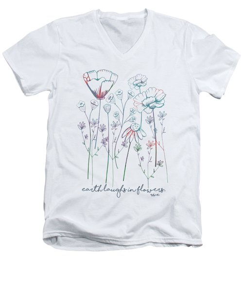 Earth Laughs In Flowers Men's V-Neck T-Shirt by Heather Applegate