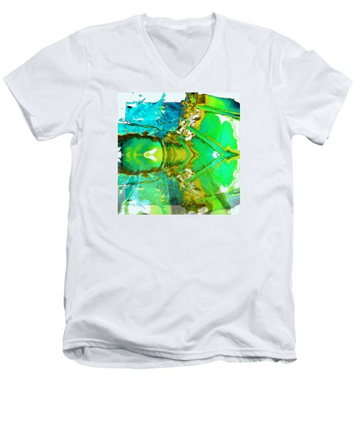 Earth Water Sky Abstract Men's V-Neck T-Shirt by Carolyn Repka