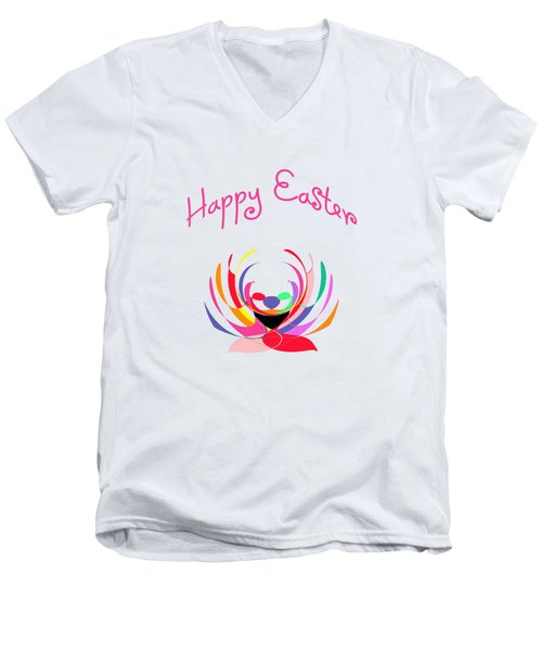 Easter Basket Men's V-Neck T-Shirt by Methune Hively