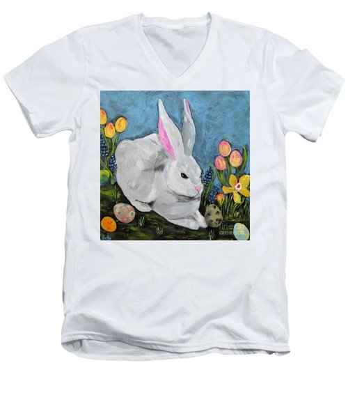 Men's V-Neck T-Shirt featuring the painting Easter Bunny  by Reina Resto