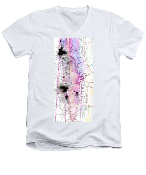 Men's V-Neck T-Shirt featuring the painting Easter Egg Fry Up by Rebecca Davis