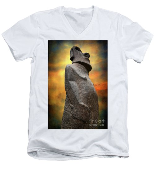 Men's V-Neck T-Shirt featuring the photograph Easter Island Moai by Adrian Evans