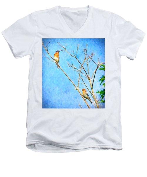 Eastern Bluebird Couple Men's V-Neck T-Shirt