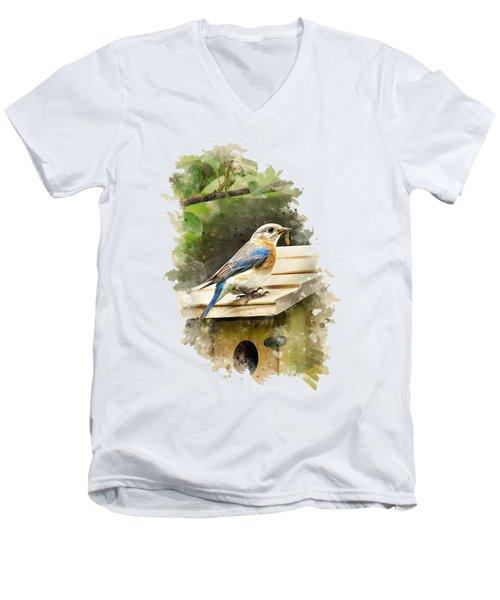 Eastern Bluebird Watercolor Art Men's V-Neck T-Shirt by Christina Rollo