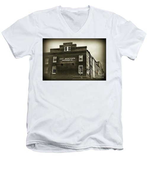 Men's V-Neck T-Shirt featuring the photograph Eat Berthas Mussels In Black And White by Paul Ward