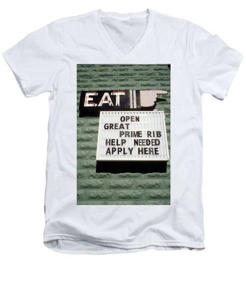 Eat Sign Men's V-Neck T-Shirt
