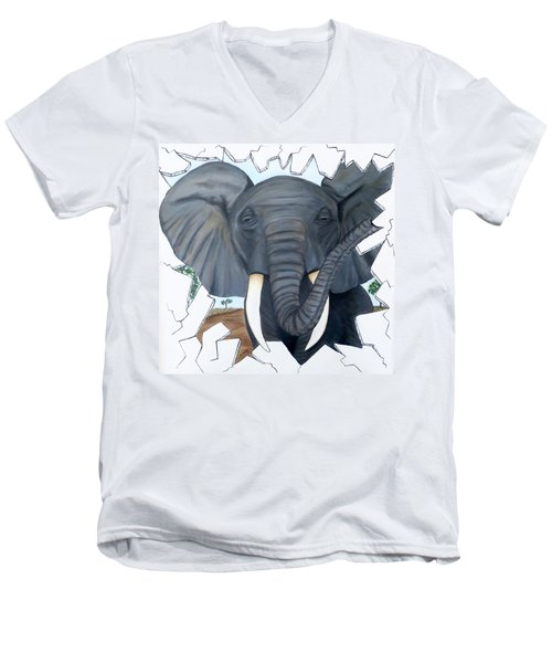 Men's V-Neck T-Shirt featuring the painting Eavesdropping Elephant by Teresa Wing