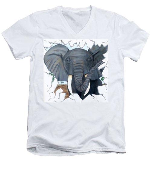 Eavesdropping Elephant Men's V-Neck T-Shirt
