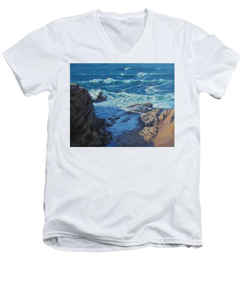 Men's V-Neck T-Shirt featuring the painting Ebb And Flow by Karen Ilari
